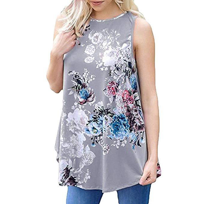Generic Generic femmes& 039;s Décontracté Floral Printed Sleeveless O-Neck Vest Shirt hauts chemisier A1 à prix pas cher