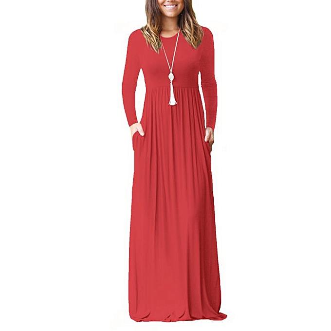 mode mode femmes& 039;s nouveau long-sleeved pocket Robe Robe-rouge à prix pas cher