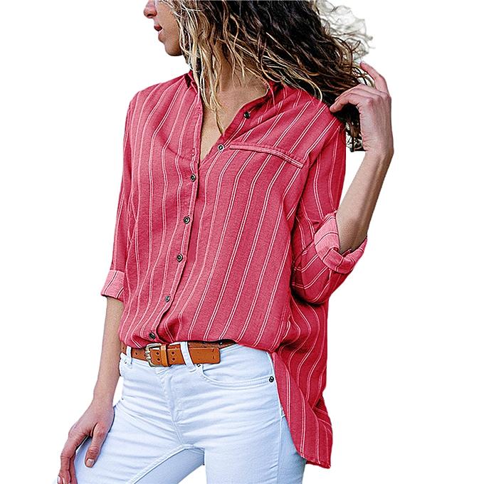 mode whiskyky store femmes été mode Décontracté V-Neck Stripe Button T Shirts hauts chemisier à prix pas cher
