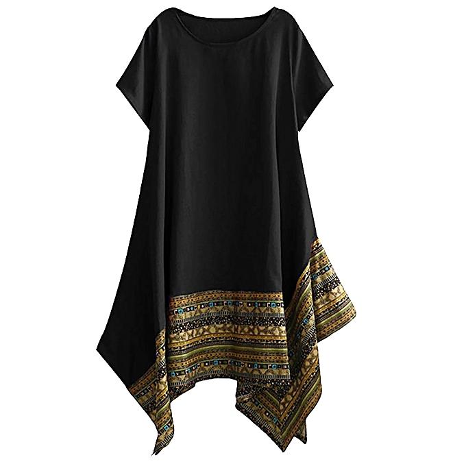 Fashion Wohommes Printed Summer Cotton Linen Short Sleeve Irregular Hem Loose Dress à prix pas cher
