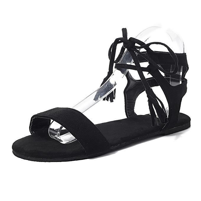 Fashion Fringe Cross Lace Up Roman Sandals For femmes à prix pas cher