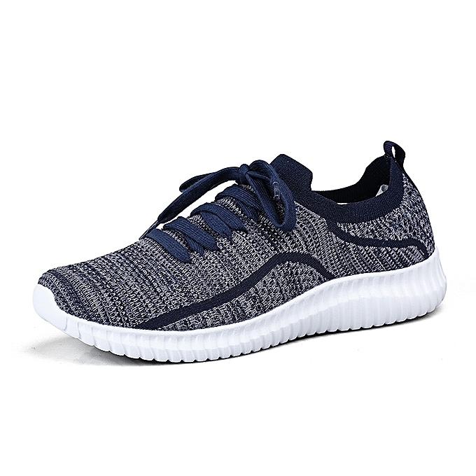 Tauntte Men baskets Breathable Sports Running chaussures Flyknit Athletic Travel chaussures (bleu) à prix pas cher