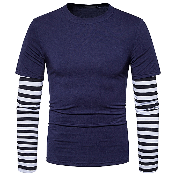 Fashion Mens' Autumn Winter Solid Patchwork Sweatshirt Tops Blouse -Dark bleu à prix pas cher