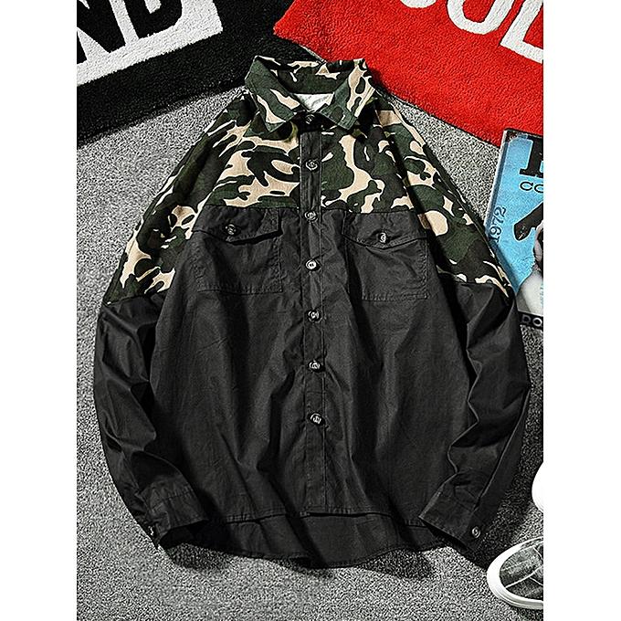 Zaful Top camo patchwork flap poche chemise, noir à prix pas cher