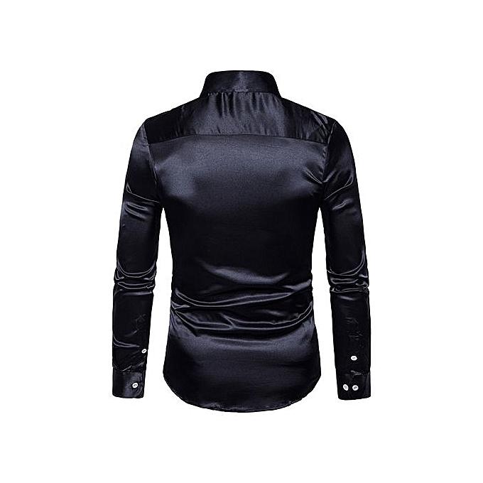 nouveauorldline mode Personality Hommes& 039;s Décontracté Slim Long-sleeved Shirt Top chemisier - noir M à prix pas cher