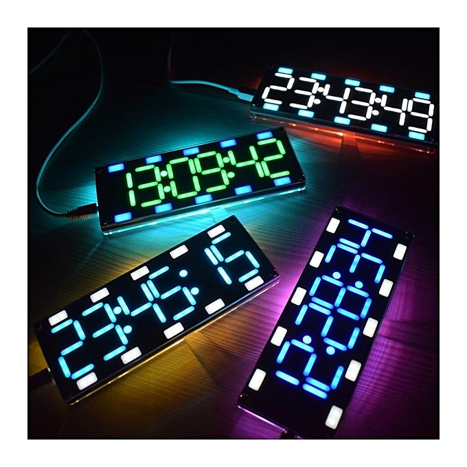 UNIVERSAL Geekcreit® DIY 6 Digit LED Large Screen Two-Couleur Digital Tube Desktop Clock Kit Touch Control à prix pas cher