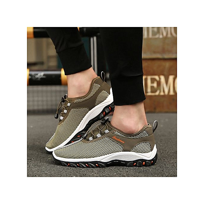 OEM Men's breathable hommes chaussures mesh chaussures hommes mesh outdoor hiking sports and leisure net chaussures mesh chaussures-Army vert à prix pas cher
