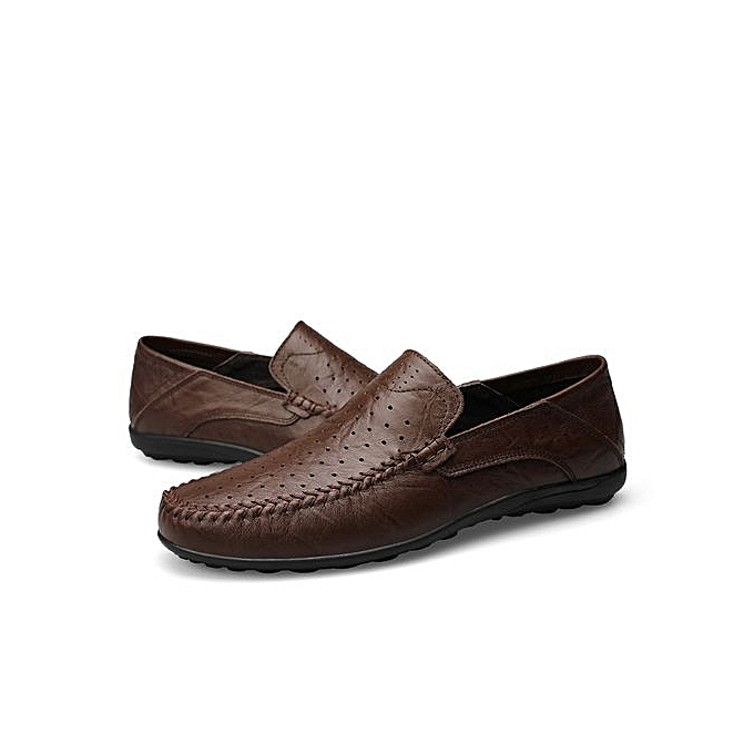 Fashion  s Hollow-Out Slip-On Leather Leather Slip-On Shoes Comfy Driving Shoes-Dark Brown à prix pas cher  | Jumia Maroc 87be2b