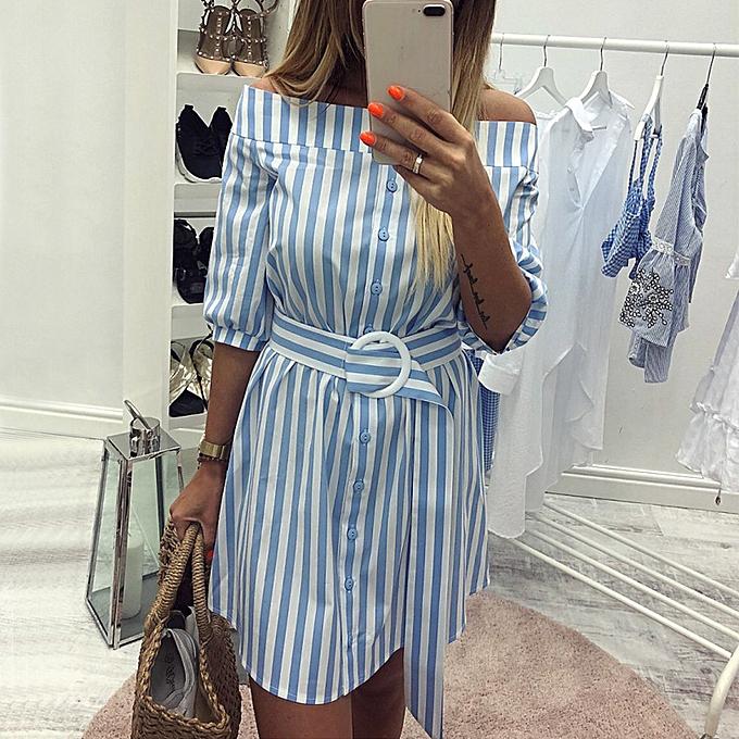 Fashion quanxinhshang femmes Summer Belt Striped 3 4 Sleeve Cold Off Shoulder Sexy Short Dress BU L à prix pas cher