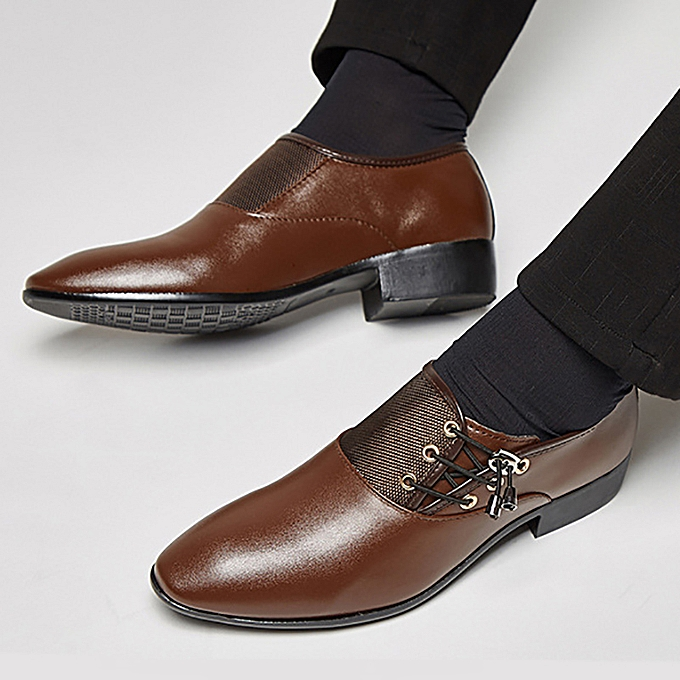 Fashion Men's Casual Oxfords Office Formal Work Leather chaussures Pointed Toe Business Dress à prix pas cher