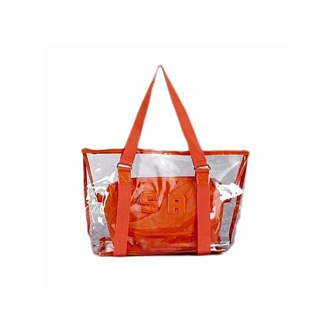 mode Transparent Shoulder sac Crystal PVC Handsac femmes rue mode sac Combination sac Orange à prix pas cher