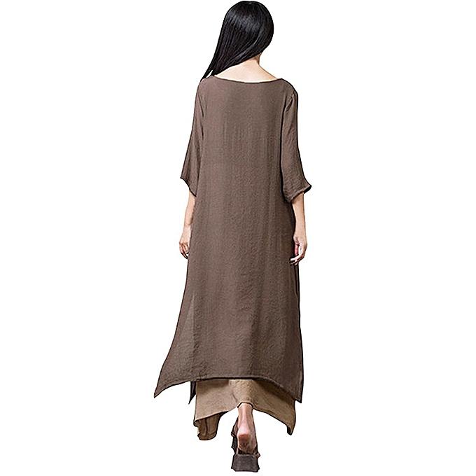 Generic Xiuxingzi femmes Cotton Linen Thin Section Baggy Loose  Large Taille Dress CO L à prix pas cher
