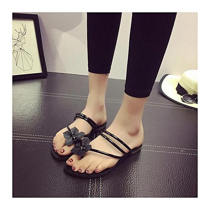 Fashion Fashion Bohemia Flower Clip Toe Two Way Wearing Slip On Flat Flip Flops Gladiator femmes Sandals-EU à prix pas cher