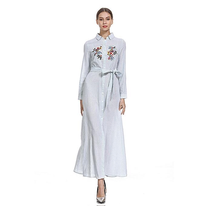 Fashion (Xiuxingzi) femmes Muslim Plus Szie Striped LongSleeve Arab Dress Islam Jilbab Dress à prix pas cher