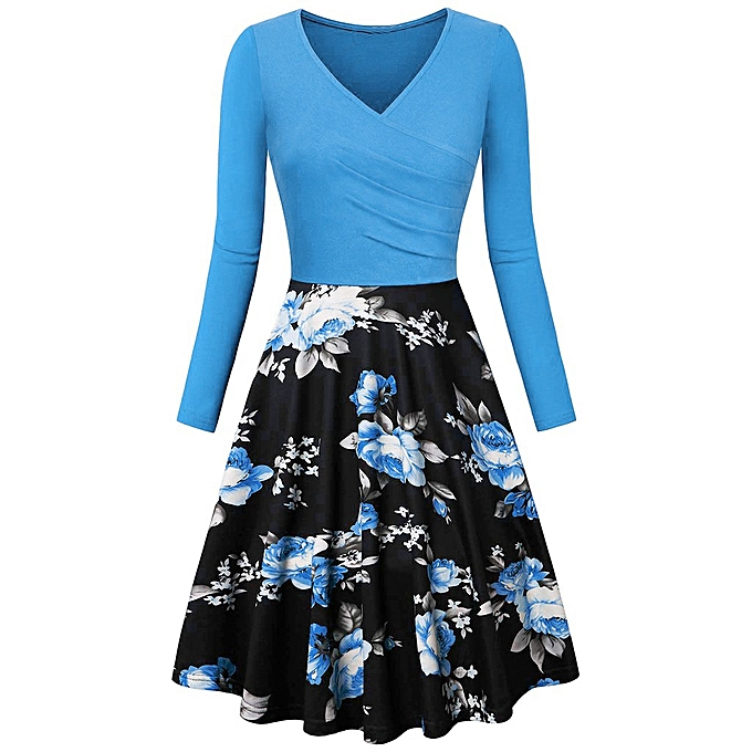 Fashion Wohommes Long  Sleeve V Neck Dresses Vintage Print  Dress à prix pas cher
