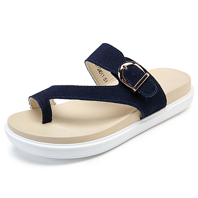 Fashion Beach Buckle Clip Toe Flat Flip Flops Sandals à prix pas cher