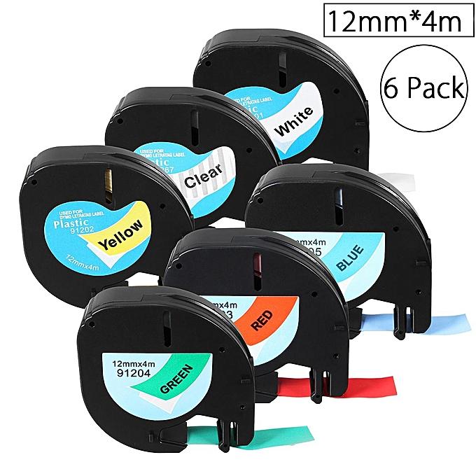 UNIVERSAL 6 Pack 12mmx4m Plastic Label Tape Compatible For Dymo LetraTag 91201   91200 à prix pas cher