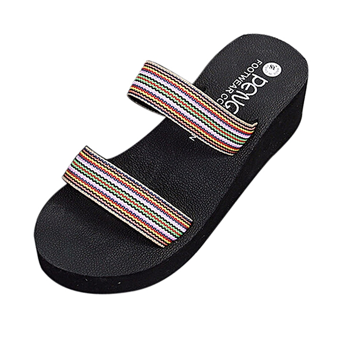 Fashion Hiamok Summer Bohemia Beach Platform Bath Slippers Wedge Slope Slippers femmes chaussures à prix pas cher