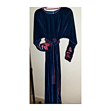 Commandez Générique Gandoura robe en velours brodée avec ceinture Bleu à  prix pas cher   Jumia Maroc f228d17e86b