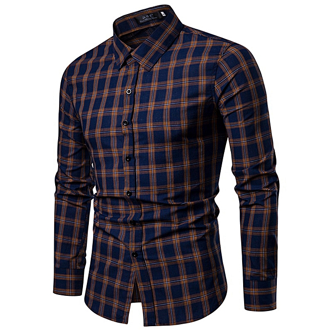 Fashion Men's Winter And Autumn New Top Men's Casual Wear Long Sleeved Shirt -Navy à prix pas cher