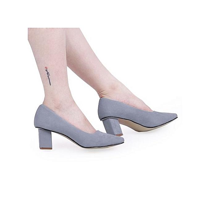 Crapemyrtle Crapemyrtle Crapemyrtle Crapemyrtle Casual Solid Color Square Toe Slip On   Rough Heels Shoes à prix pas cher  | Jumia Maroc a86538