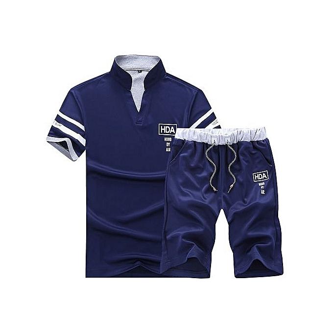 Other Two Piece Sports Suit  Stand Collar T Shirt -Dark bleu à prix pas cher
