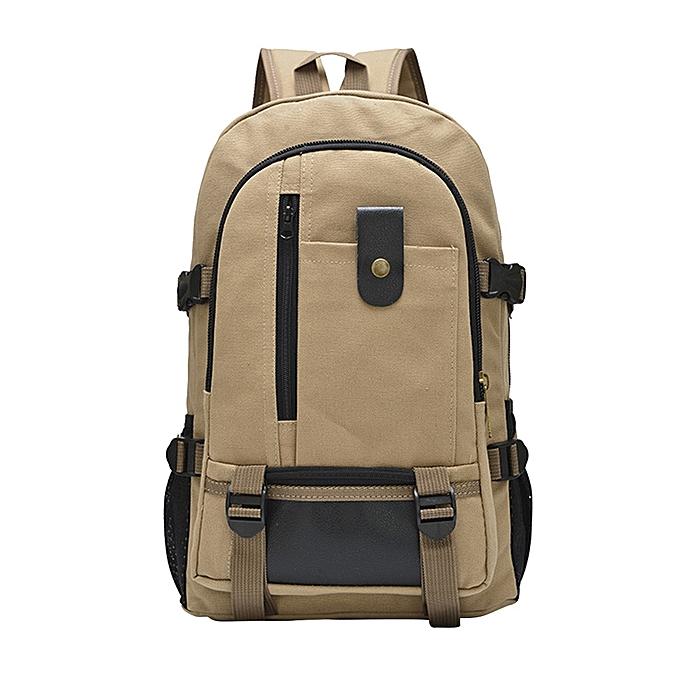mode Tcetoctre grand capacité sac à dos leisure voyage solid Couleur toile sac à dos student sacBG-Beige à prix pas cher