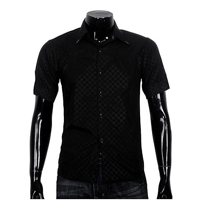 Fashion jiahsyc store Obscure Men's Plaid Short-sleeved Shirt Slim noir XXL à prix pas cher