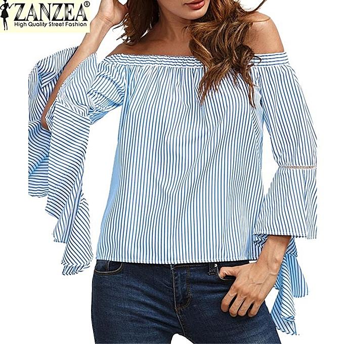 Zanzea Slash Neck Off Shoulder Flare Sleeve Flouncing Stripe Shirt femmes mode Décontracté Party plage été hauts chemisier (bleu) à prix pas cher
