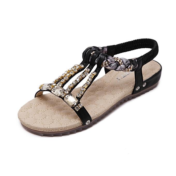 OEM New arrivel  New Korean Comfortable Large Taille femmes Sandals Bohemian String Bead Clip Toe Flat chaussures Sandals chaussures -noir à prix pas cher