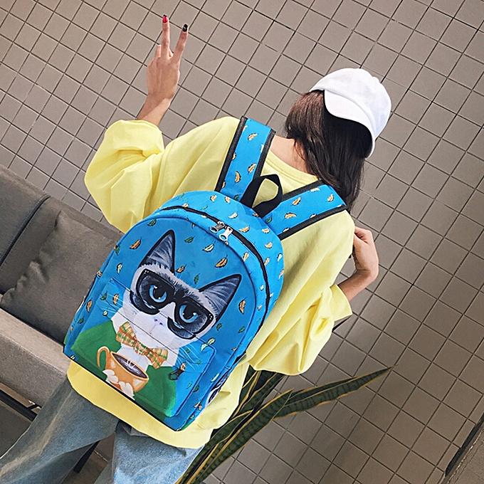 mode Tcetoctre Cute Cat sac à dos School femmes sac à doss Girls drôle Cats toile Shoulder sac BU-bleu à prix pas cher
