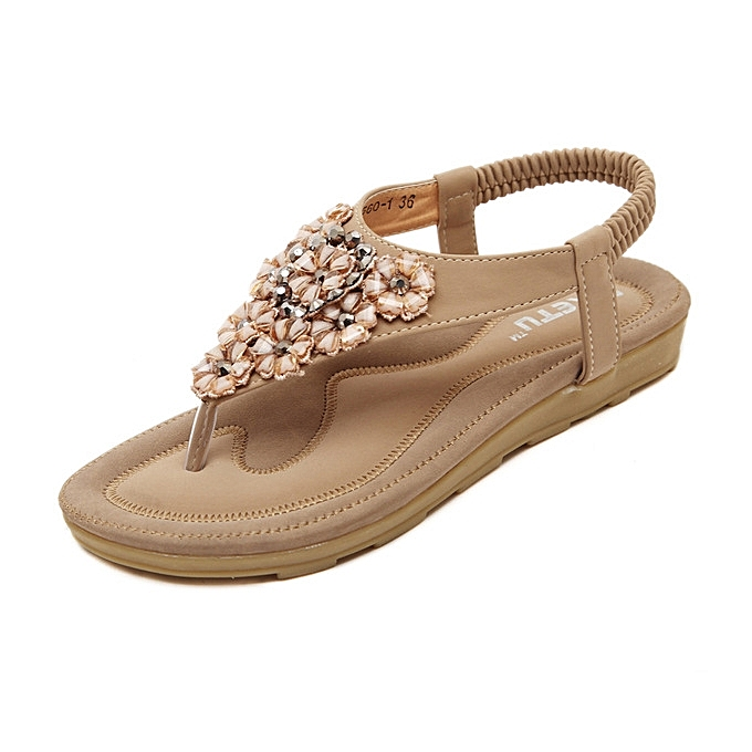 OEM New style Large Taille femmes Sandals Crystal chaussures Summer Casual Beach Flat Sandals chaussures Female Crystal Flowers Sandals-apricot à prix pas cher