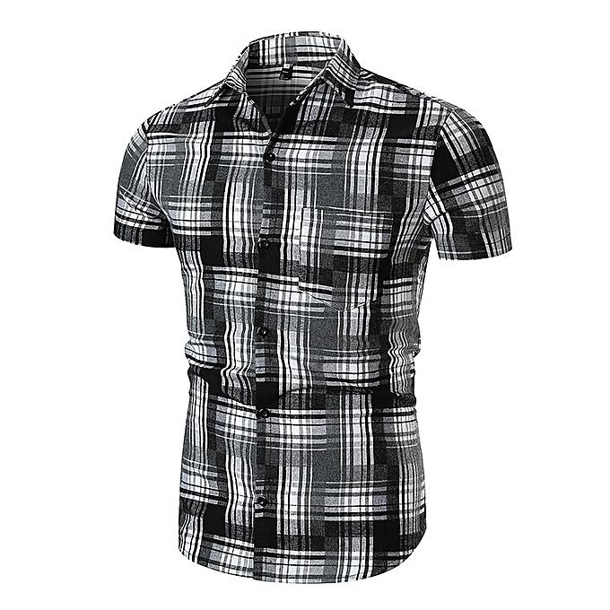 Other nouveau mode Hommes& 039;s Personality Plaids manche courte Shirt à prix pas cher
