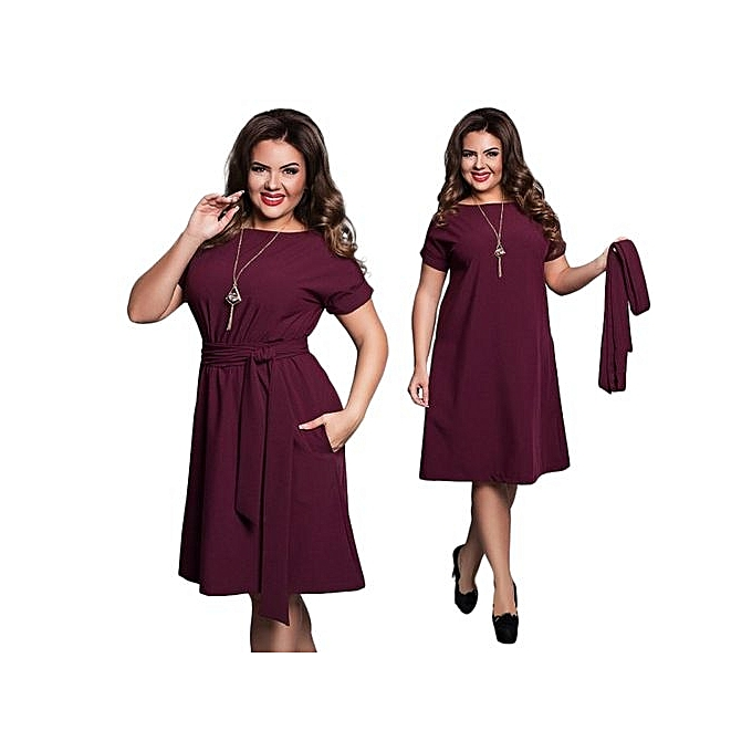 Generic femmes Casual O-neck Solid A-line Plus Taille Dress Slim Short Sleeve Vintage Belted Knee Length Summer Dress-wine rouge à prix pas cher