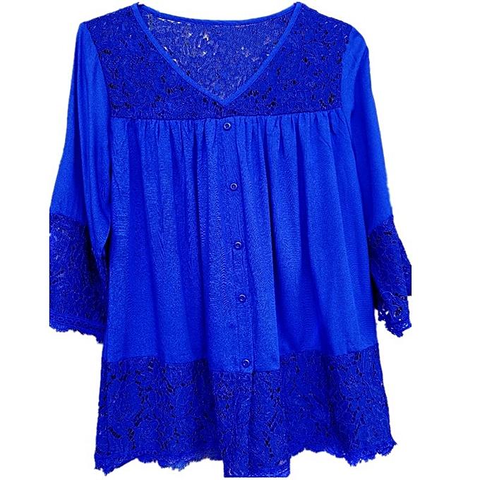 Other femmes& 039;s Plus Taille Lace Patchwork V Neck hauts -Royal bleu à prix pas cher