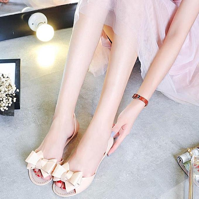 Fashion Fashion Summer femmes Slip On Bow Jelly Flats Sandals Beach Clear chaussures Slippers BEIGE-EU à prix pas cher    Jumia Maroc