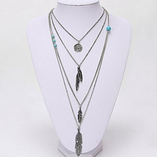 Hl elegant turquoise decorated layered feather pendant for Accessoire chambre bebe
