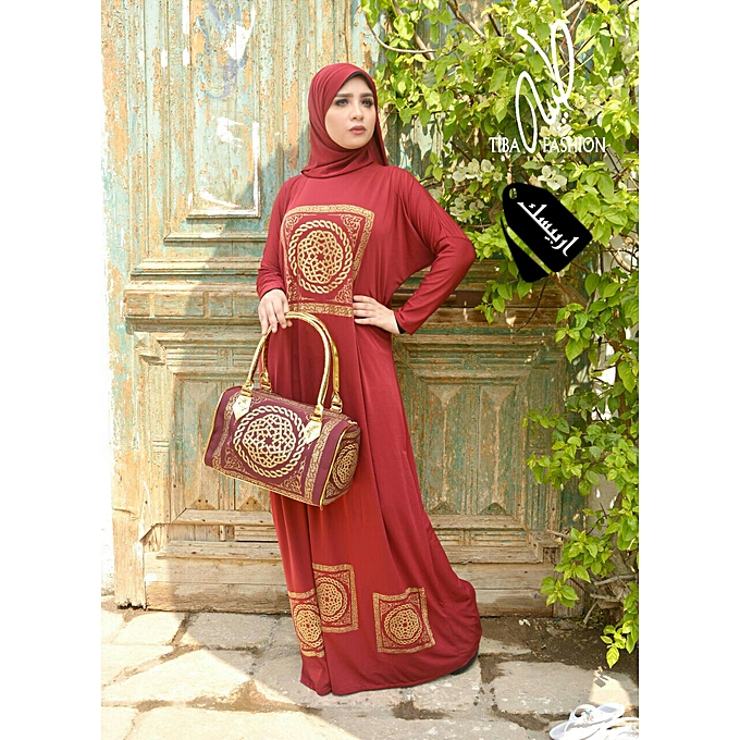 Generic abaya arabesque avec sac à prix pas cher