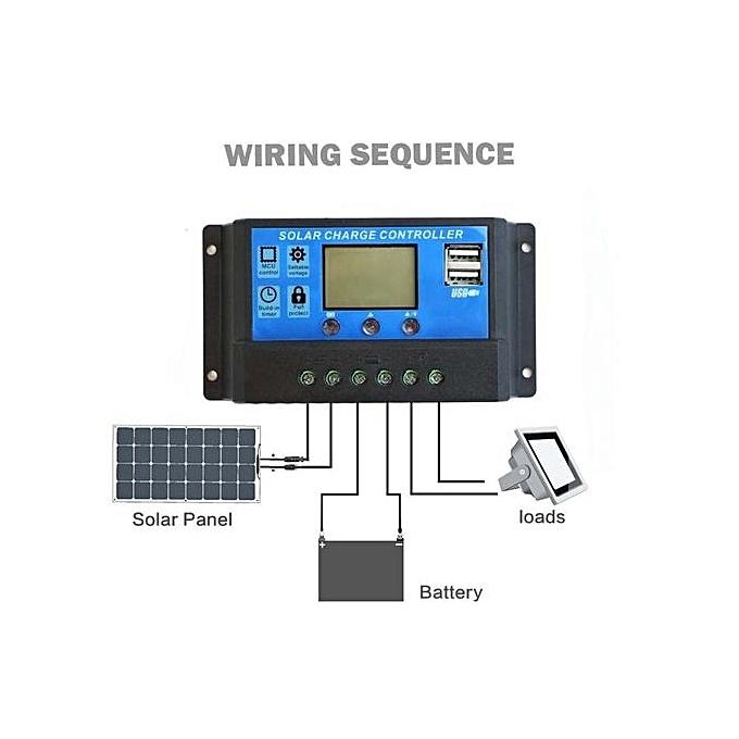 Fashion PWM 10A Solar Charge Controller 12V 24V LCD Display Dual USB Solar Panel Charger à prix pas cher