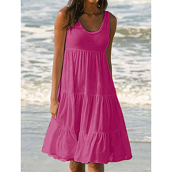 Fashion femmes Holiday Summer Solid Sleeveless Party Beach Dress à prix pas cher