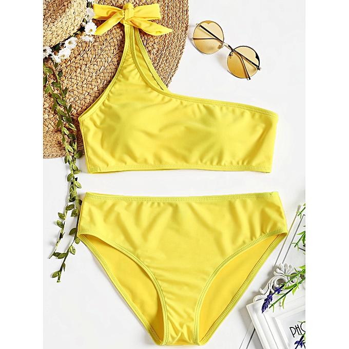 Generic HL Knot One Shoulder Bikini Set (jaune) (L, S, M, XL) à prix pas cher