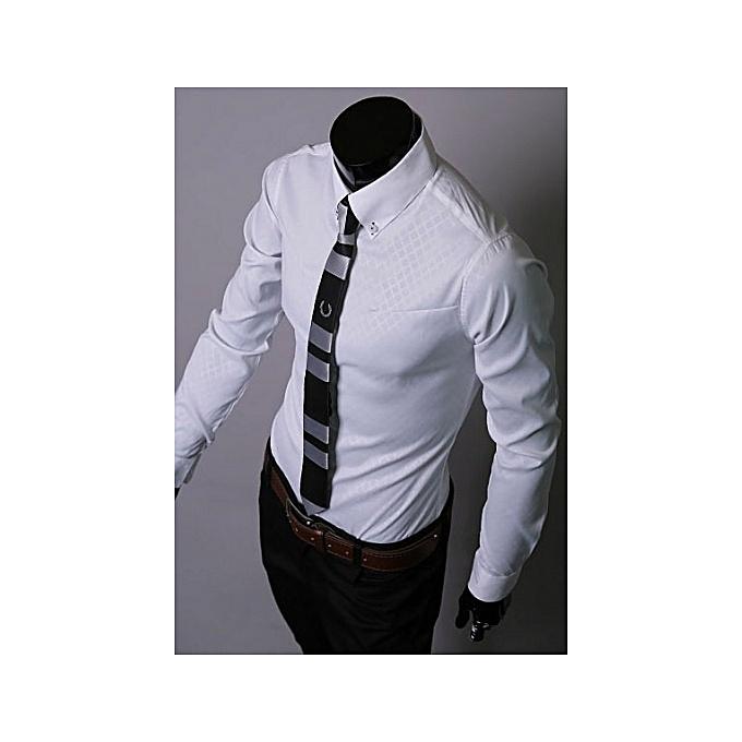Other Men Plus Taille Diamond Slim Long Sleeve Shirt à prix pas cher