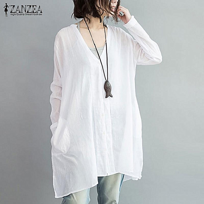 Zanzea ZANZEA femmes OverTailled Cotton Linen Button V Neck bleusas Long Sleeve Irregular Split Autumn Fashion Blouse Tops Shirt (blanc) à prix pas cher