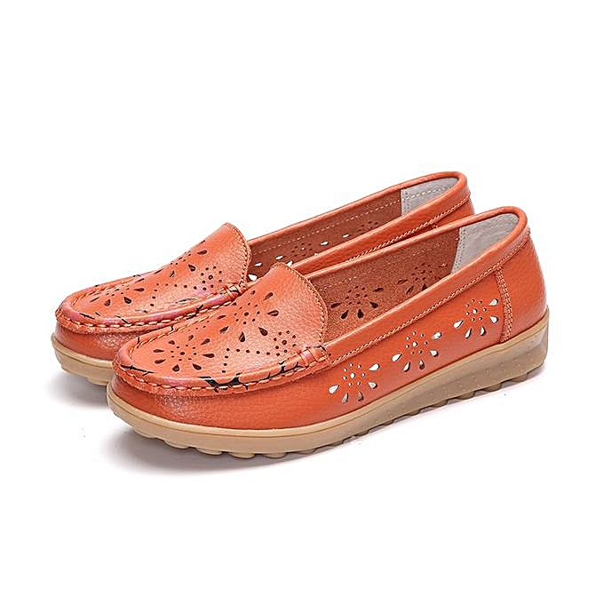 Fashion SOCOFY Fashion femmes Little Flower Breathable Slip On Flat Leather Hollow Out Loafers Boat chaussures à prix pas cher    Jumia Maroc