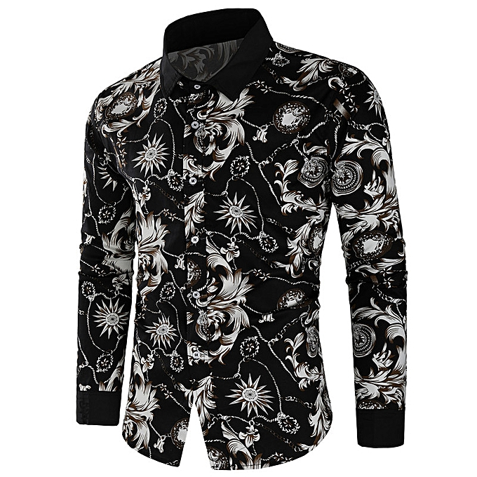 Fashion Trend new European code hommes flower shirt casual wild long sleeve-blanc à prix pas cher