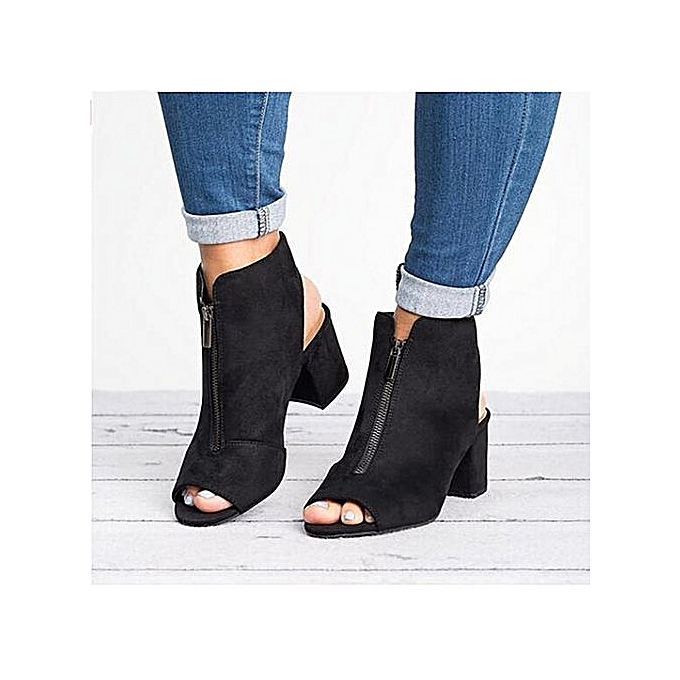OEM Fashion Flock Thick High Heel Zip Solid Sandals Peep Toe Casual chaussures-noir à prix pas cher    Jumia Maroc