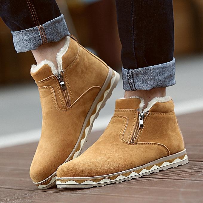 mode Hiamok_Hommes Winter Warm bottes Décontracté imperméable Anti-Slip chaussures Plush Snow bottes à prix pas cher