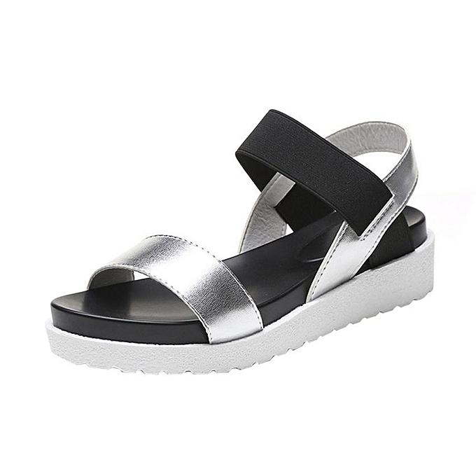 nouveauorldline Sandales Mode Femmes Aged Sandales plates Chaussures en cuir pour femmes argent à prix pas cher