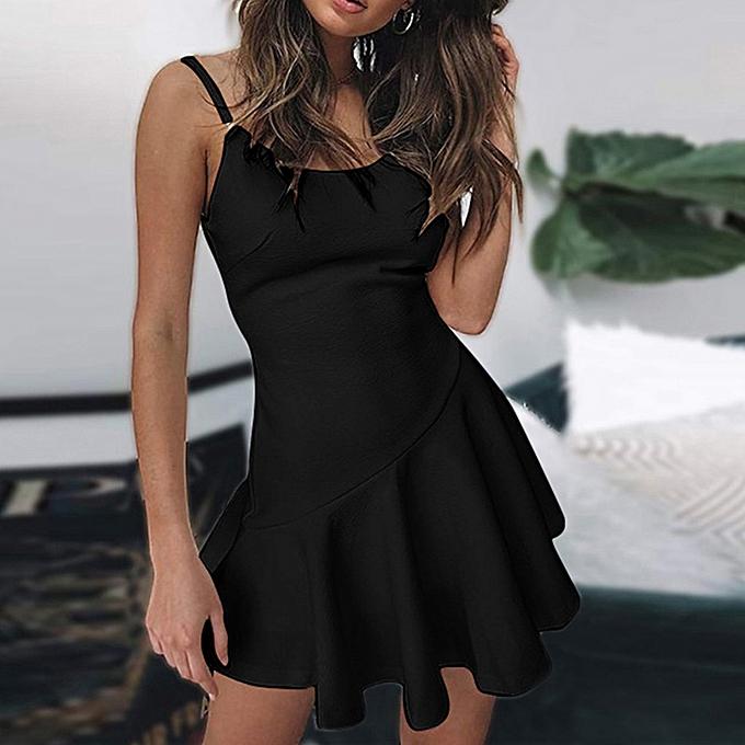 mode femmes& 039;s mode Open Back Evening été Sleeveless Ruffled Halter Mini Robe à prix pas cher
