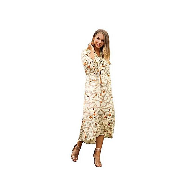 AFankara Beige Elegant Ladies Dresses Printed Gown à prix pas cher